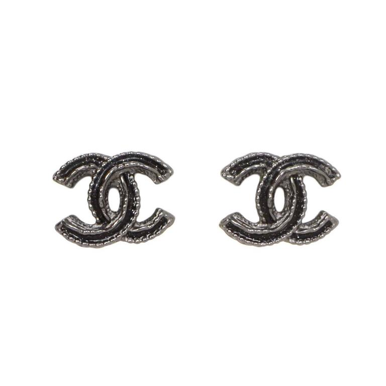 Chanel Black Silver Cc Earrings For