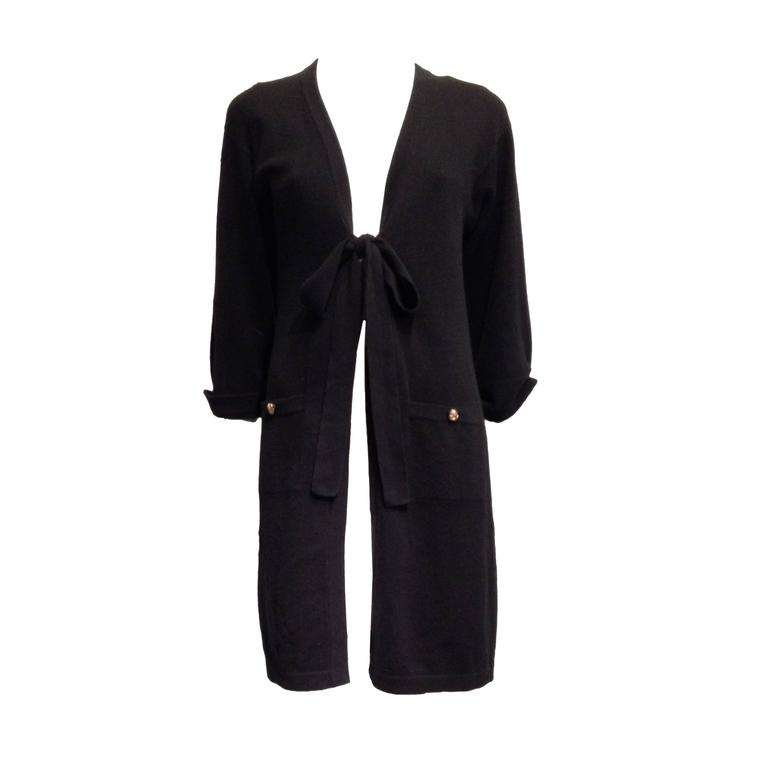 Chanel Black Cashmere Long Cardigan Size 34 (2) For Sale at 1stdibs