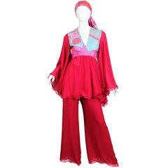 1970S HANAE MORI Haute Couture Silk Chiffon Blouse, Scarf & Pants Ensemble