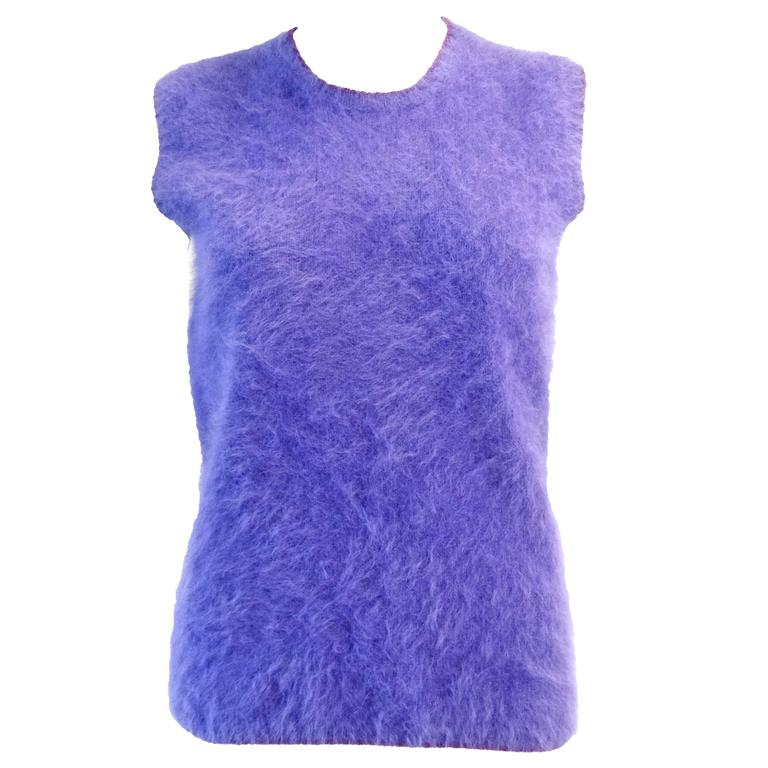 1990s Gianni Versace Couture Purple Angora Sweater