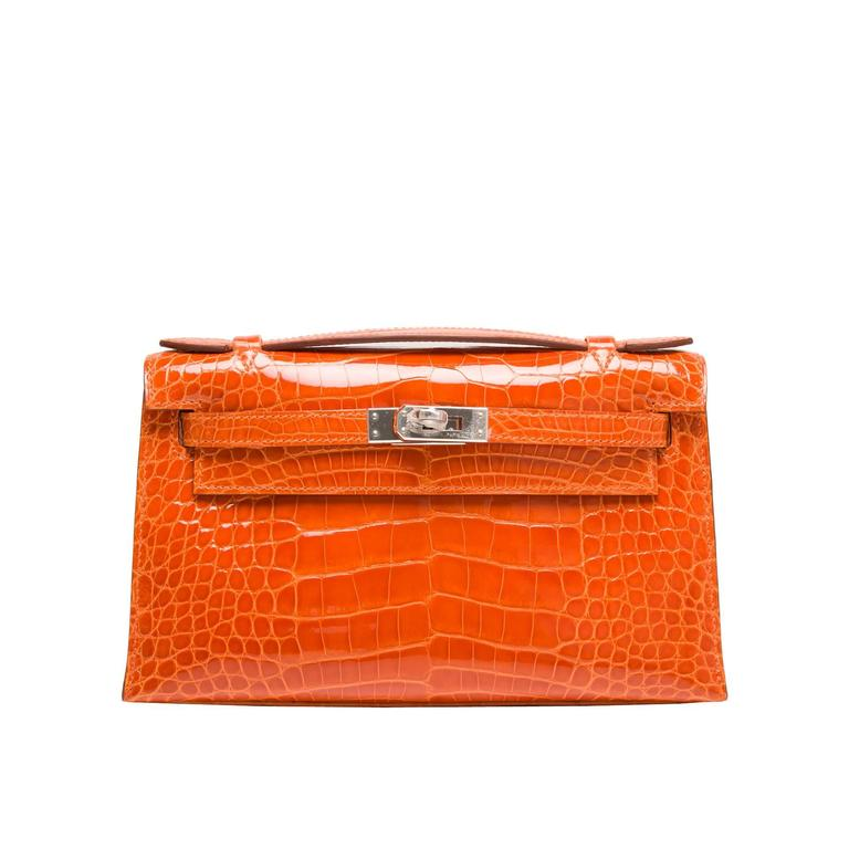 Hermes Orange H Shiny Alligator Mini Kelly Pochette NEW