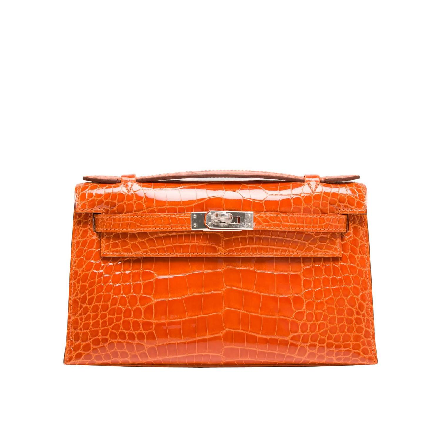 faux crocodile hermes wallet - Hermes Orange H Shiny Alligator Mini Kelly Pochette For Sale at ...
