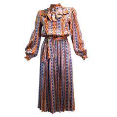 """1980s Givenchy Nouvelle """"Aztec"""" Silk Dress"""