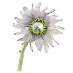 Fabrice Paris 1980s Resin Flower Brooch Pin