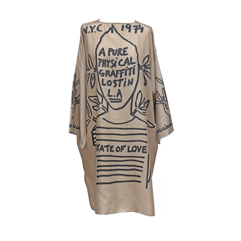 Jean Charles De Castelbajac graffiti silk caftan, new/unworn 1