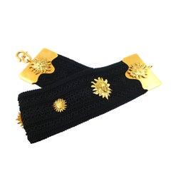 Yves Saint Laurent YSL Vintage Rare Sun Face Waist Belt