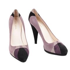PRADA Italian Purple Gray Black TRICOLOR Suede HEELS Shoes PUMPS SZ 39 IT