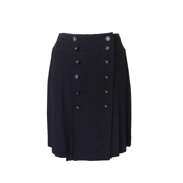 59123566a56c CHANEL Vintage Skirt pleated double row buttons front 40 6 at 1stdibs