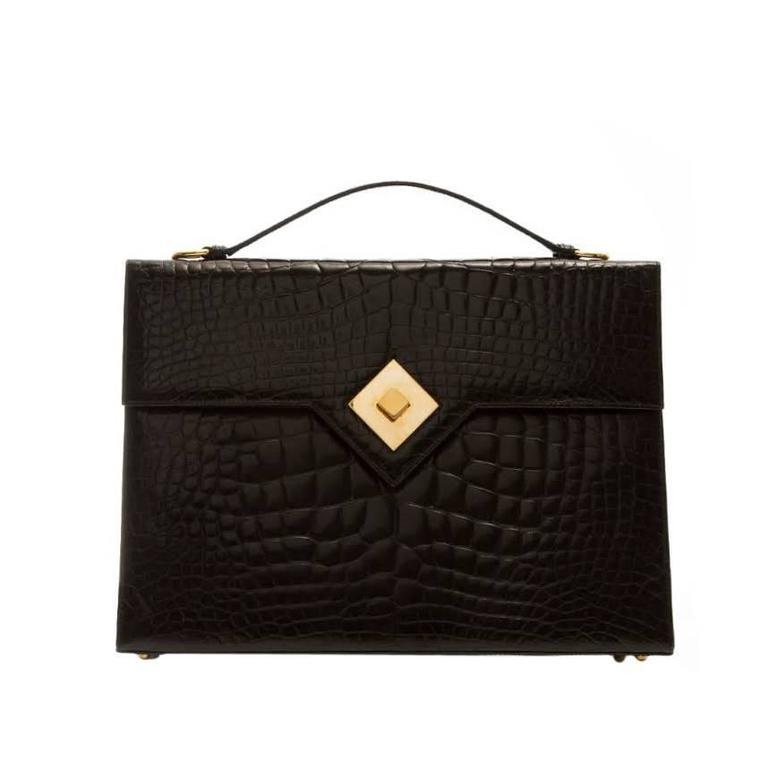 Renaud Pellegrino 1950s Vintage Crocodile Briefcase Bag