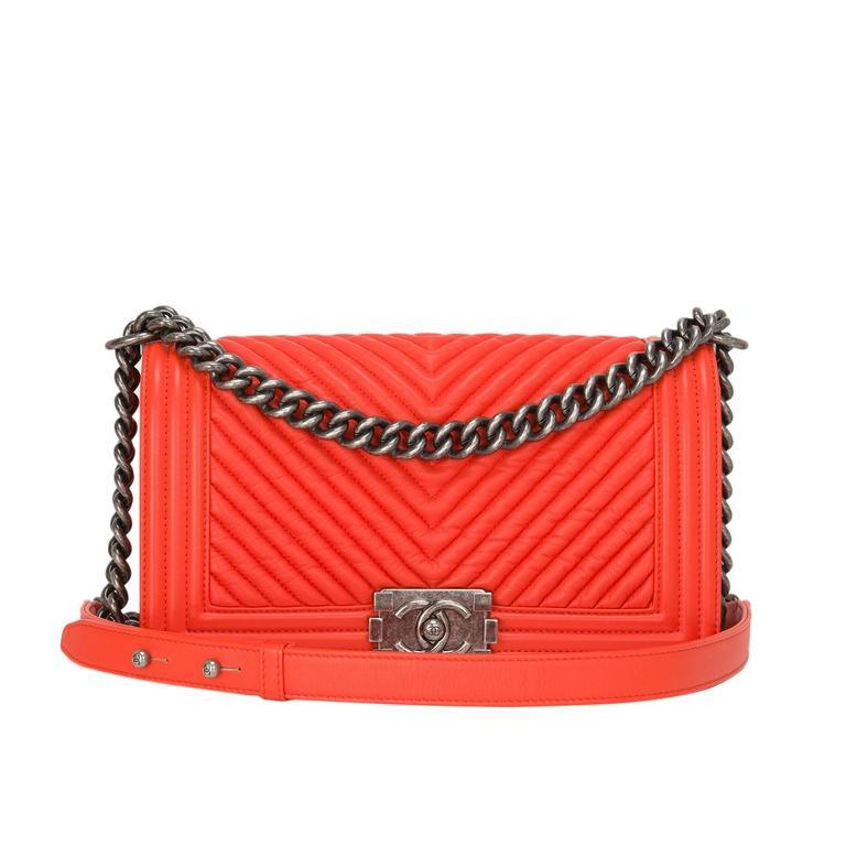Chanel Orange Chevron Medium Boy Bag For Sale