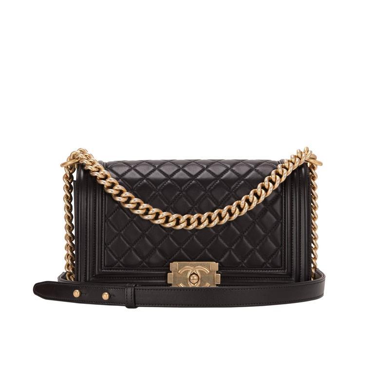 Chanel Black Quilted Calfskin Medium Boy Bag For Sale