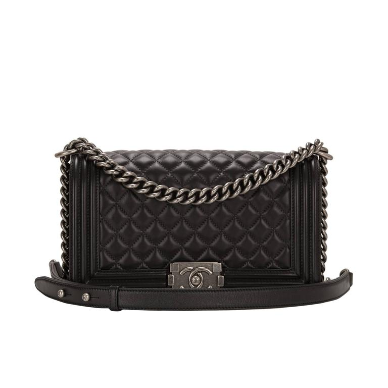 Chanel Black Quilted Lambskin Medium Boy Bag For Sale