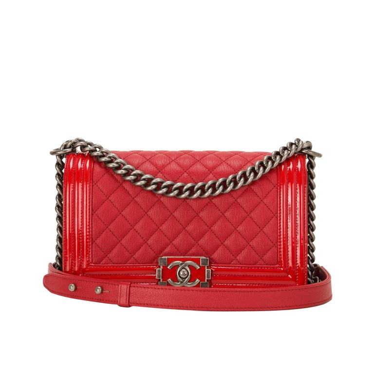 Chanel Red Quilted Goatskin Medium Boy Bag With Patent Trim For Sale