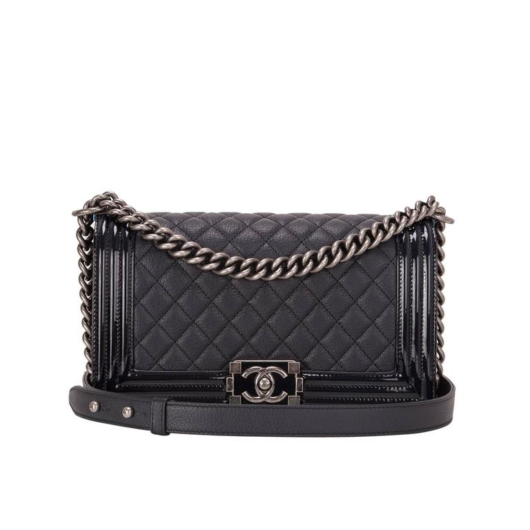 Chanel Navy Quilted Goatskin Medium Boy Bag With Patent Trim For Sale