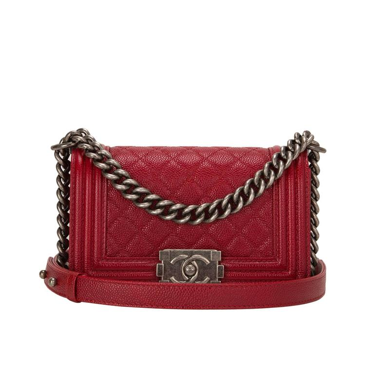 Chanel Dark Red Quilted Caviar Small Boy Bag For Sale