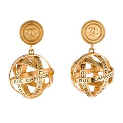 Chanel Gold 31 Rue Cambon Large Dangle Drop Evening Globe Sphere Earrings