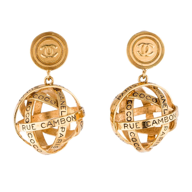 Chanel Gold 31 Rue Cambon Large Dangle Drop Evening Globe Sphere Earrings
