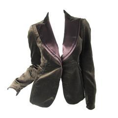 Costume National Brown Velvet and Satin Blazer