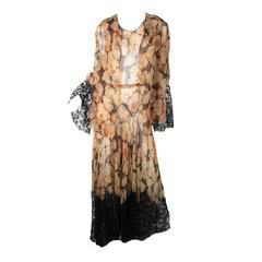 Sheer Chiffon Floral Gown and Jacket with Lace, 1920s - 30s