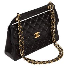 1991 Chanel Quilted Black Leather Shoulder Bag w/Double Chain & Gold Hardware
