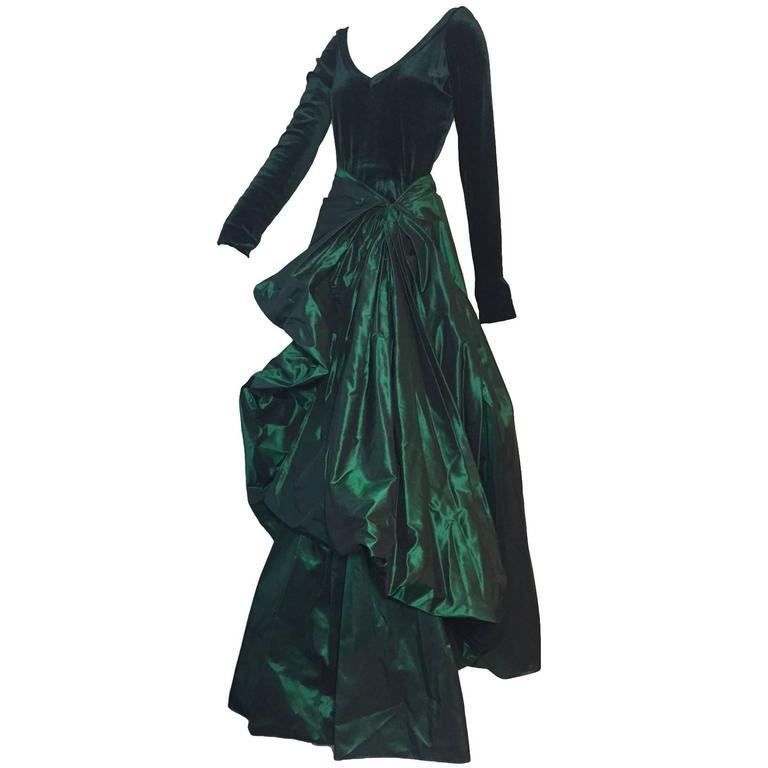 1990s Gianfranco Ferre Forest Green Silk Taffeta and Velvet Ball Gown For Sale