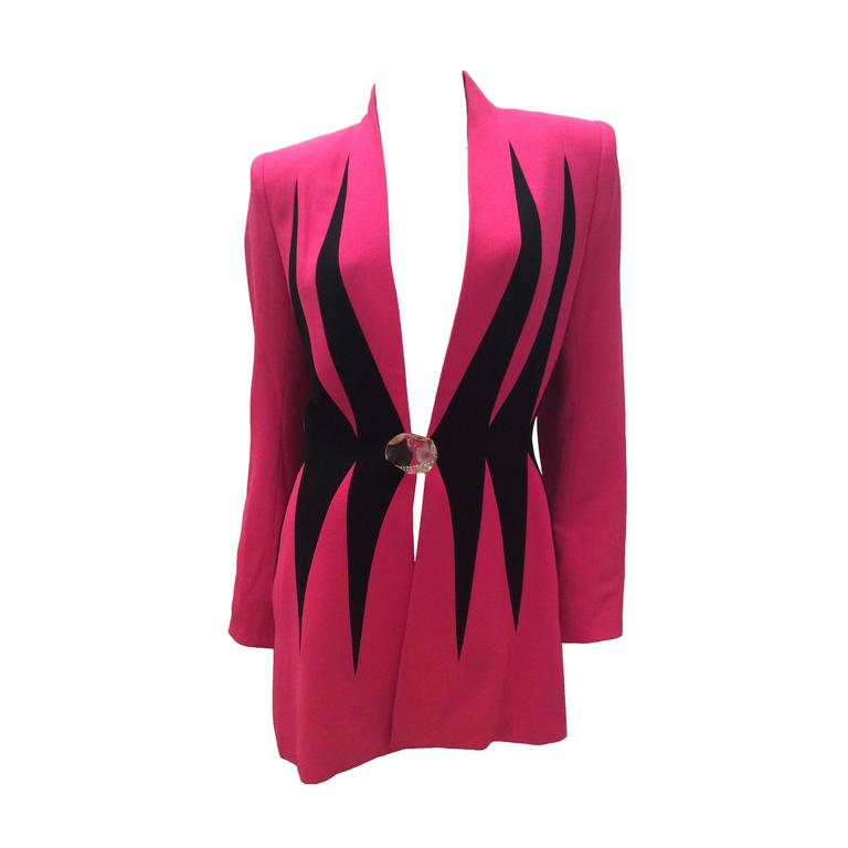 1980's Catherine Gerard Magnificent Pink and Black Evening Jacket