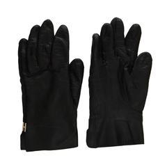 Hermes Black Leather Gloves sz 8