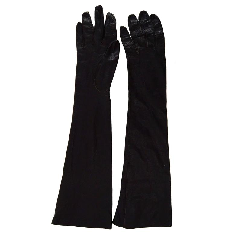 Alexander's Black Leather 3/4 Length Gloves sz 7.5 For Sale