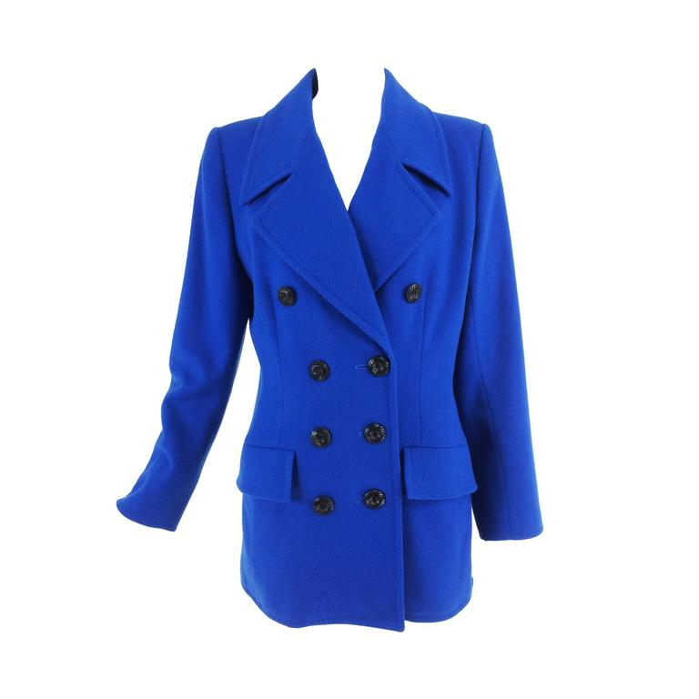Yves St Laurent Rive Gauche bright blue wool pea coat 1990s
