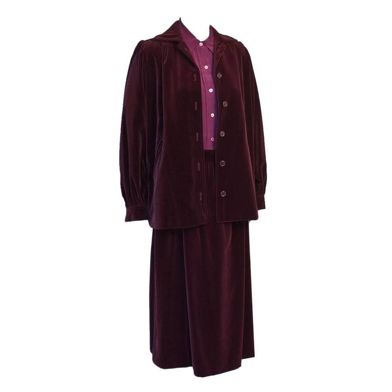 1980's Yves Saint Laurent YSL Purple Velvet Skirt Suit