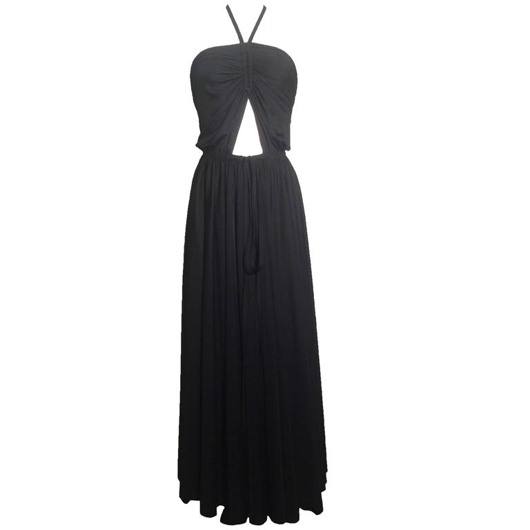 1970s Adele Simpson Black Cut-Out Jersey Maxi Dress