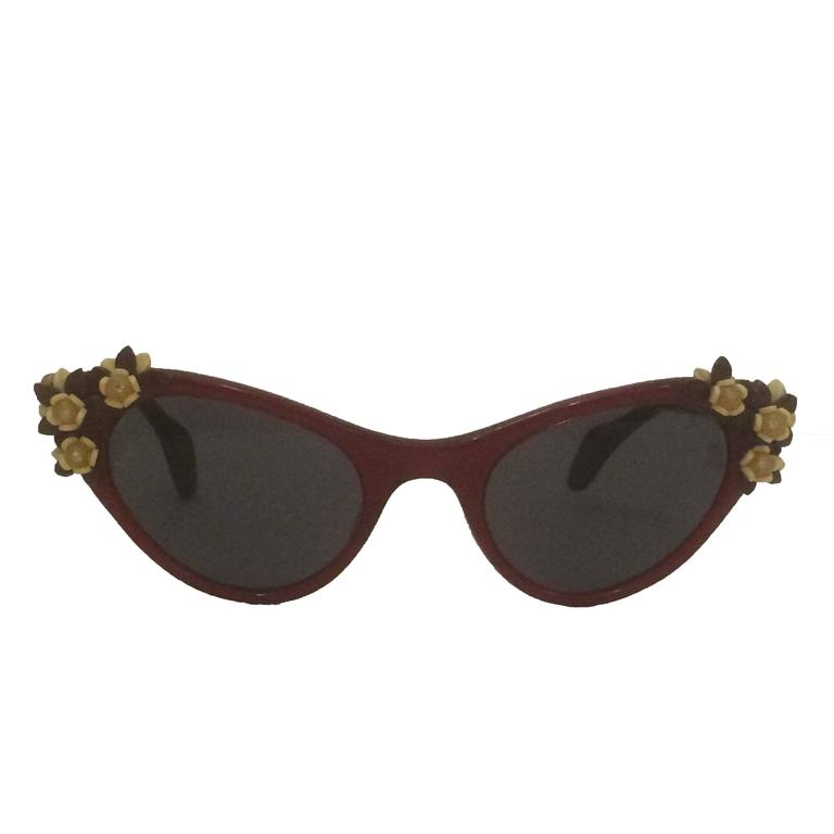 Schiaparelli 1950s Cherry Red Cat Eye Sunglasses With Floral Embellishment 1