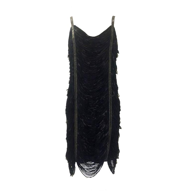 Alexander McQueen Beaded Leather Fringe Cocktail Dress, 2008