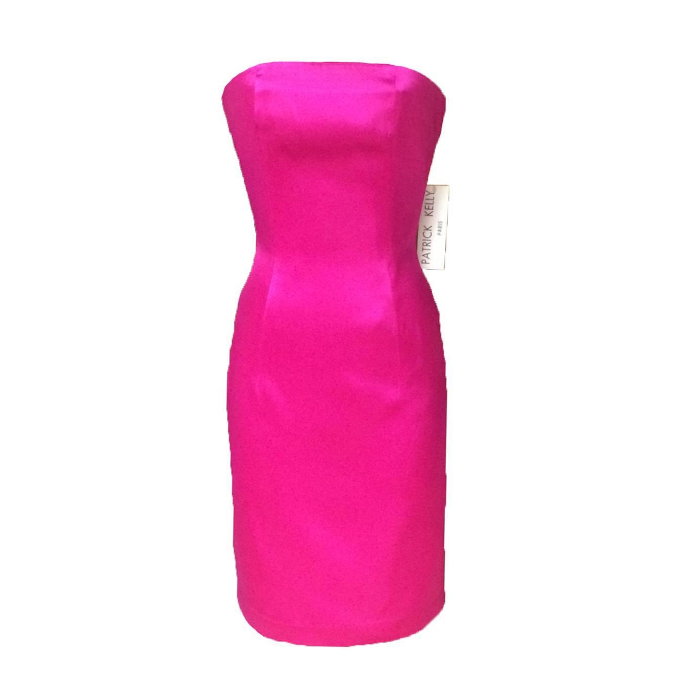 Patrick Kelly 80s Pink Satin Strapless Pencil Cut Cocktail Dress at ...