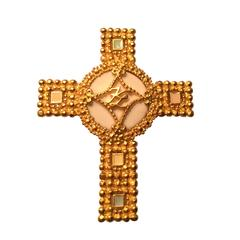 Karl Lagerfeld Gold Cross Pin with Pastel Enamel Details, 1990s