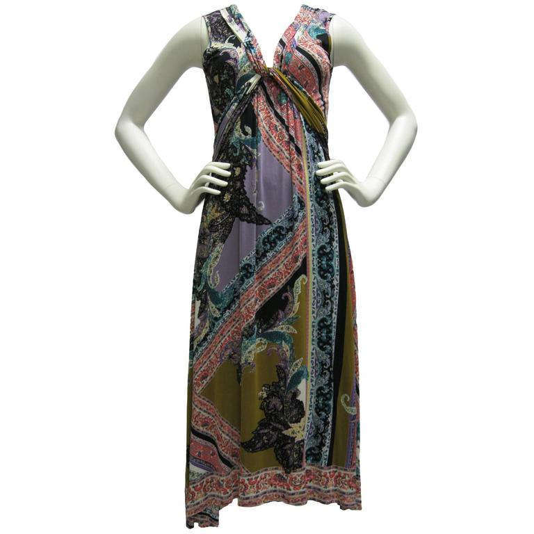Etro Empire Waist Graphic Print Sleeveless Dress