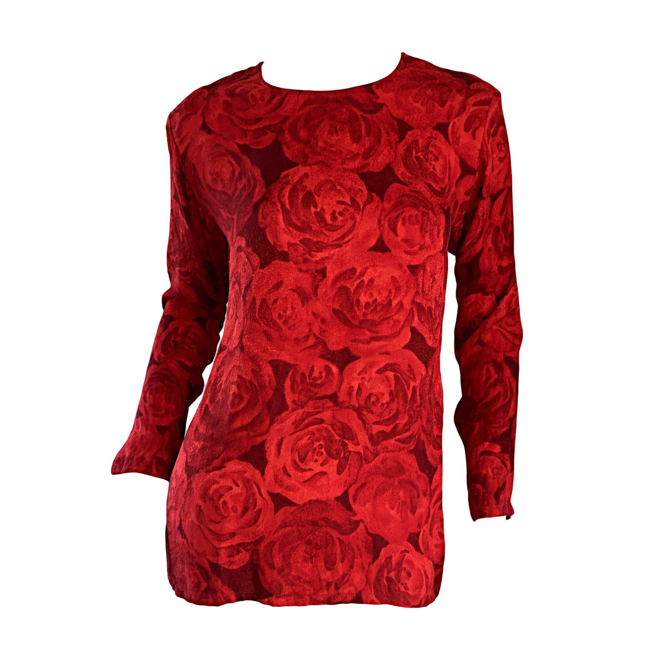 Vintage Yves Saint Laurent YSL ' Rive Gauche ' Rose Print Silk Blouse Top