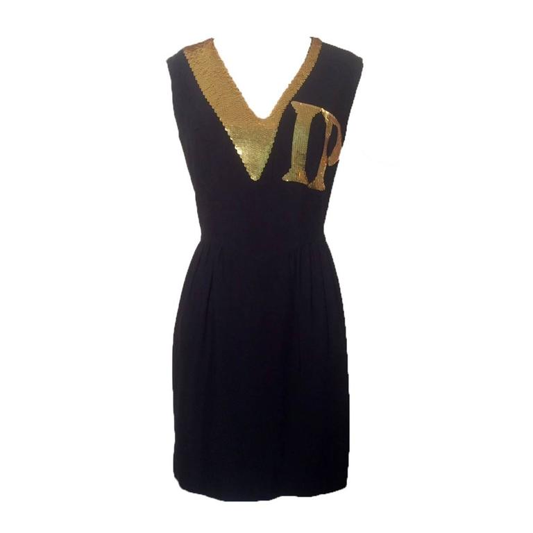 Moschino Couture! 1990s Black and Gold Sequin VIP Dress 1
