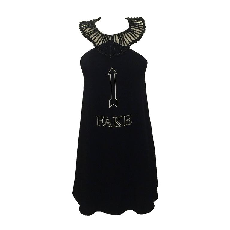 Moschino Couture! 90s Black A-Line 'Fake' Necklace Dress  1