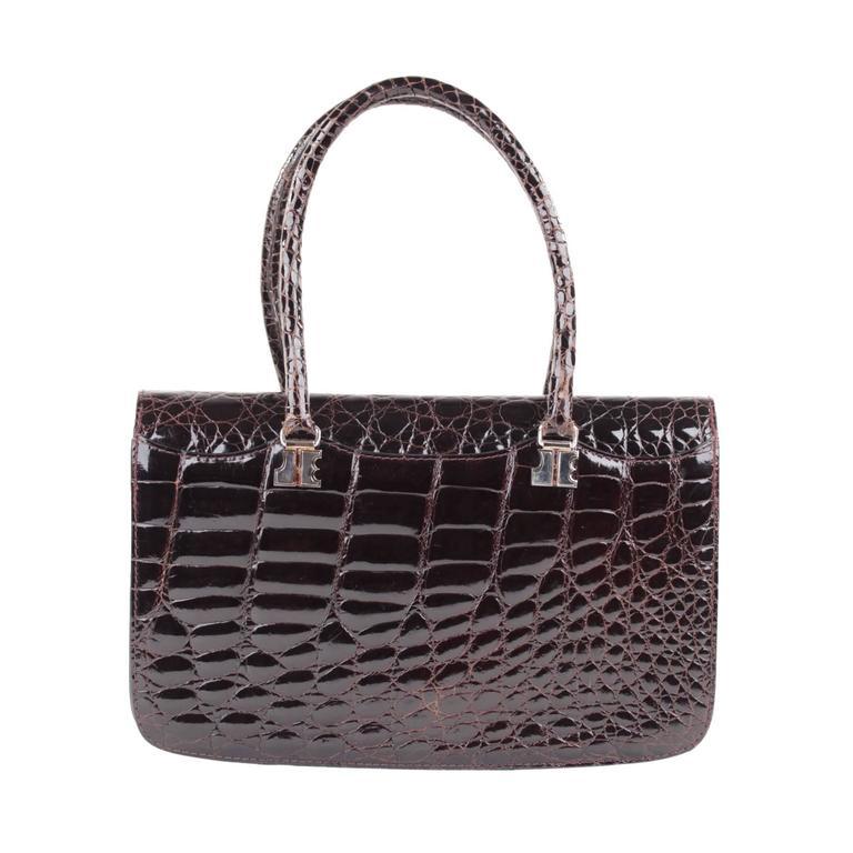 jacques esterel paris vintage brown crocodile leather handbag flap purse at 1stdibs. Black Bedroom Furniture Sets. Home Design Ideas