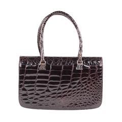 JACQUES ESTEREL PARIS Vintage Brown CROCODILE Leather HANDBAG Flap Purse
