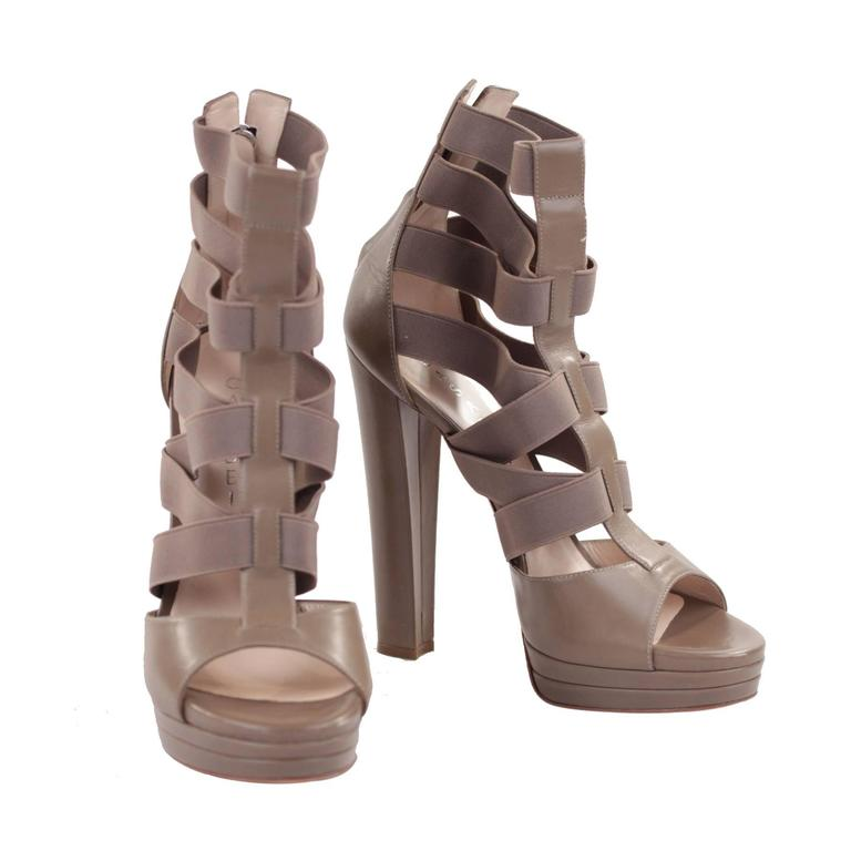 CASADEI Argilla Leather PLATFORM Elastic Strappy SANDALS Heels SHOES 40  1