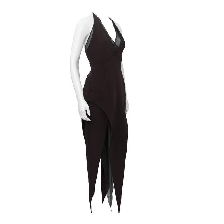 1980s Karl Lagerfeld Black Halter Dress W Sheer Panels For Sale At