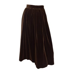 Yves Saint Laurent 1970s Vintage Chocolate Brown Velvet 70s Full Midi Skirt YSL