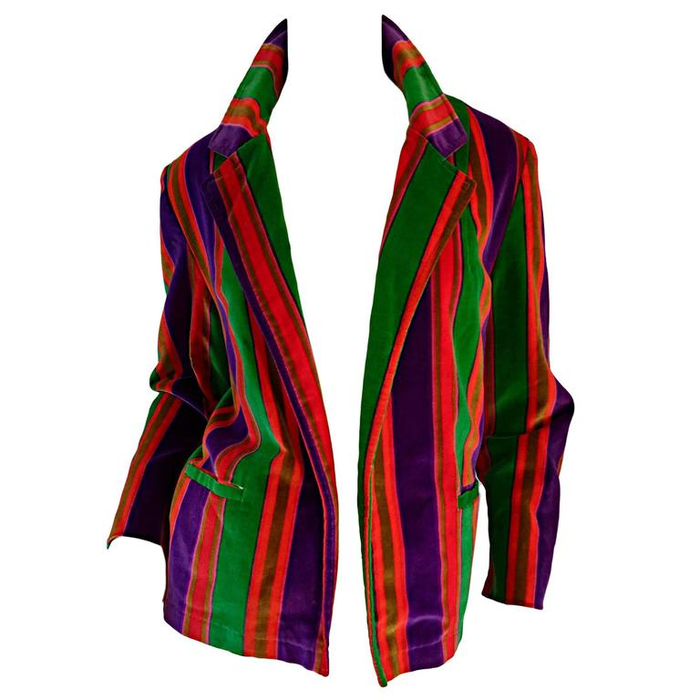 Wonderful Vintage I. Magnin 70s Rainbow Striped Velvet Blazer Jacket  1