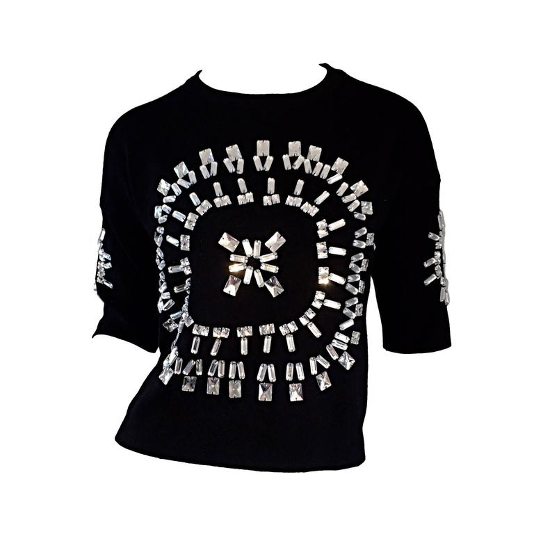 Incredible Iconic Vintage Christian Lacroix Black Top w/ Mirror Embellishments  For Sale