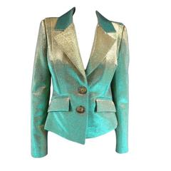 VIVIENNE WESTWOOD Anglomania Size 8 Green & Gold Lurex Sparkle Jacket