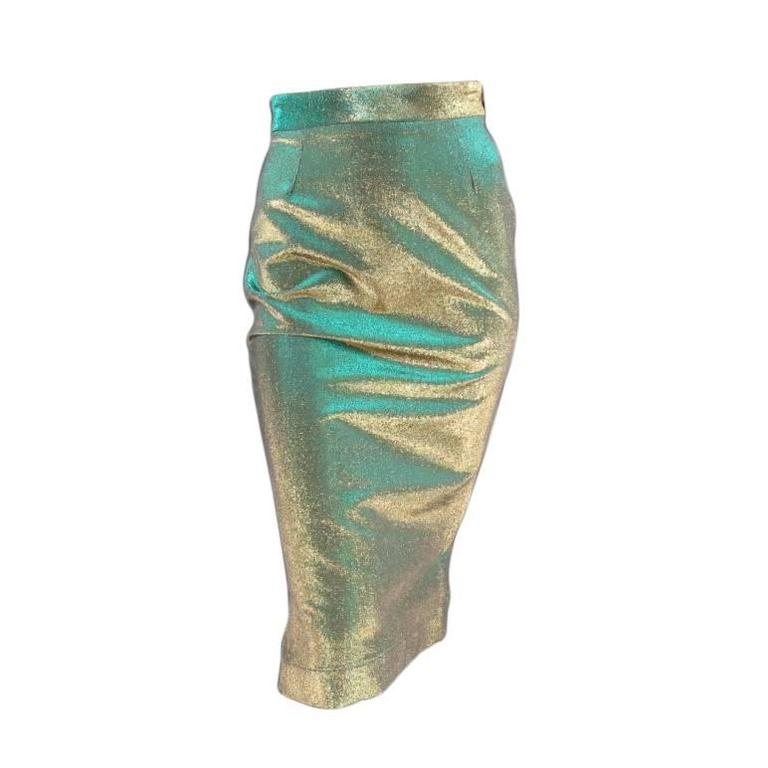 VIVIENNE WESTWOOD Anglomania Size 8 Green & Gold Sparkle Lurex Pencil Skirt 1