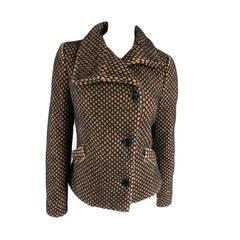 VIVIENNE WESTWOOD Red Label Size 10 Tan & Black Mesh Textured Wool Blend Jacket