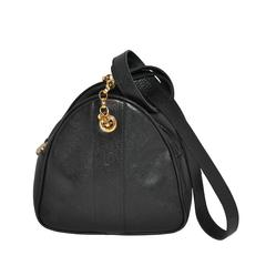 Fendi Black Textured Calfskin with Gold Hardware Small Shoulder Bag